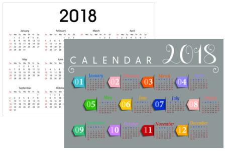 2018年のパワーポイント 年間カレンダー無料版