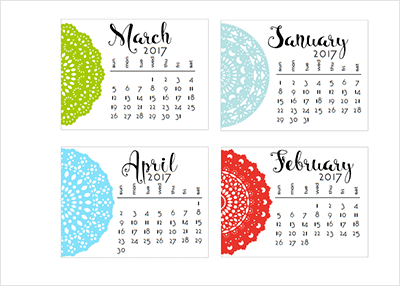 レース風のカレンダーがシンプルで可愛い!